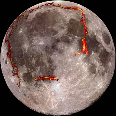 Full moon showing position of rift valleys