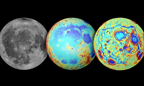 Three views of the moon: visible light, topography and gravity gradients